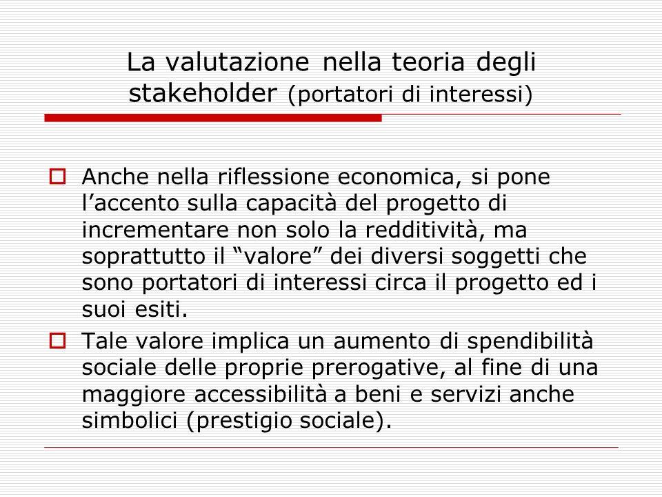 La valutazione nella teoria degli stakeholder (portatori di interessi)