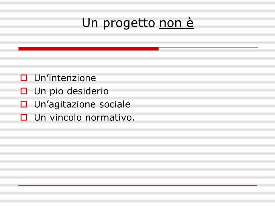 Un progetto non è Un'intenzione Un pio desiderio Un'agitazione sociale