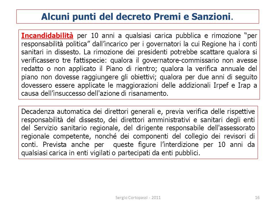 Alcuni punti del decreto Premi e Sanzioni.