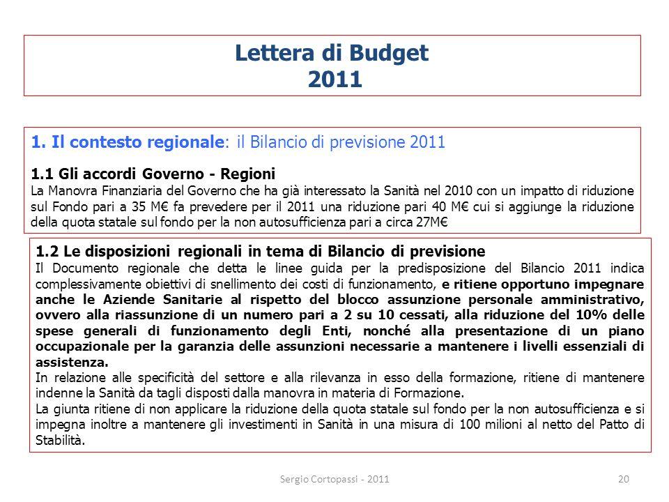 Lettera di Budget 2011. 1. Il contesto regionale: il Bilancio di previsione 2011. 1.1 Gli accordi Governo - Regioni.