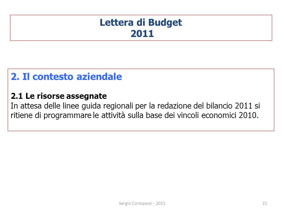 Lettera di Budget 2011 2. Il contesto aziendale