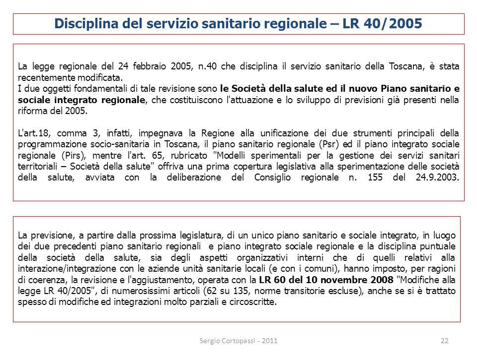 Disciplina del servizio sanitario regionale – LR 40/2005