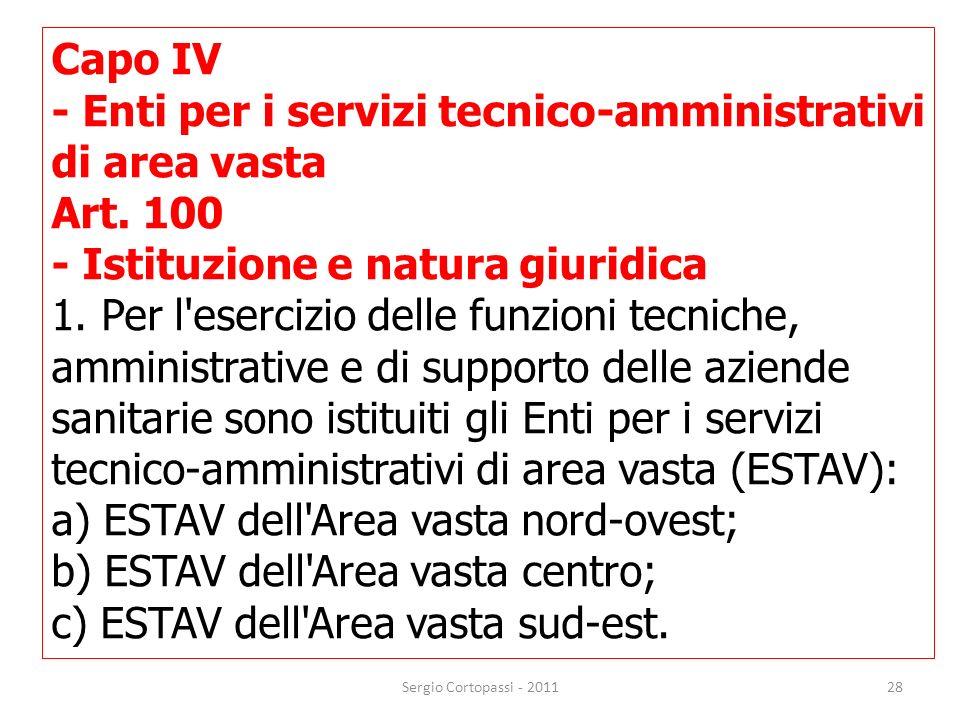 - Enti per i servizi tecnico-amministrativi di area vasta Art. 100