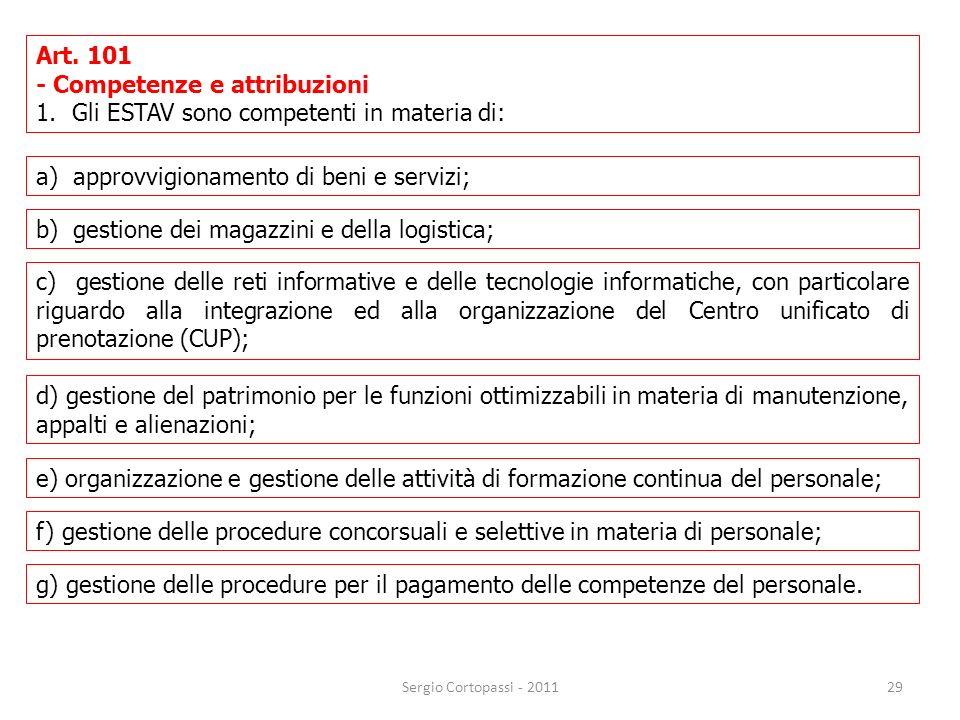 - Competenze e attribuzioni Gli ESTAV sono competenti in materia di: