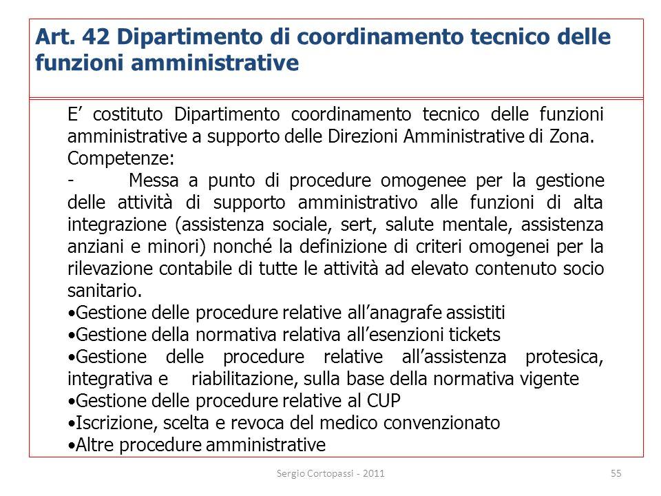 Art. 42 Dipartimento di coordinamento tecnico delle funzioni amministrative