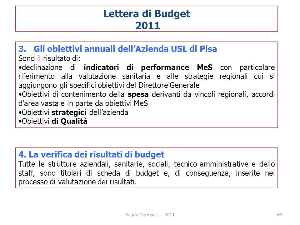 Lettera di Budget 2011. 3. Gli obiettivi annuali dell'Azienda USL di Pisa. Sono il risultato di: