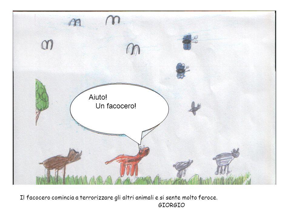 Aiuto! Un facocero! Il facocero comincia a terrorizzare gli altri animali e si sente molto feroce.