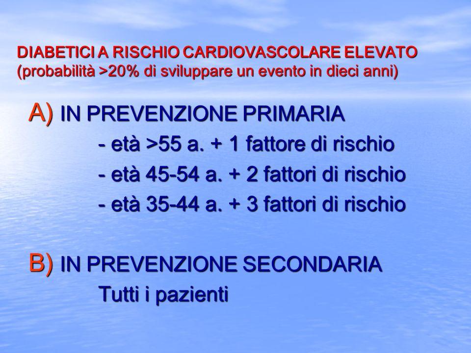 IN PREVENZIONE PRIMARIA - età >55 a. + 1 fattore di rischio