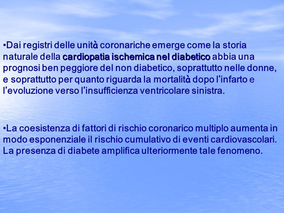 Dai registri delle unità coronariche emerge come la storia naturale della cardiopatia ischemica nel diabetico abbia una prognosi ben peggiore del non diabetico, soprattutto nelle donne, e soprattutto per quanto riguarda la mortalità dopo l'infarto e l'evoluzione verso l'insufficienza ventricolare sinistra.