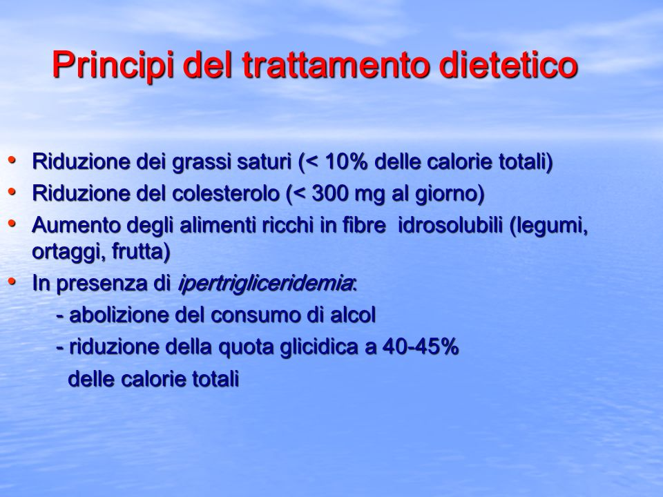 Principi del trattamento dietetico
