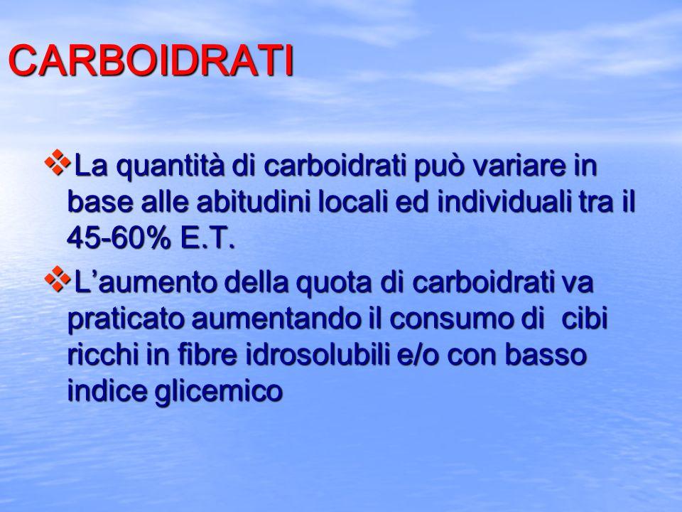 CARBOIDRATI La quantità di carboidrati può variare in base alle abitudini locali ed individuali tra il 45-60% E.T.