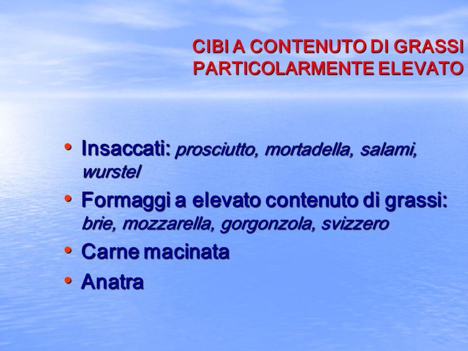 CIBI A CONTENUTO DI GRASSI PARTICOLARMENTE ELEVATO