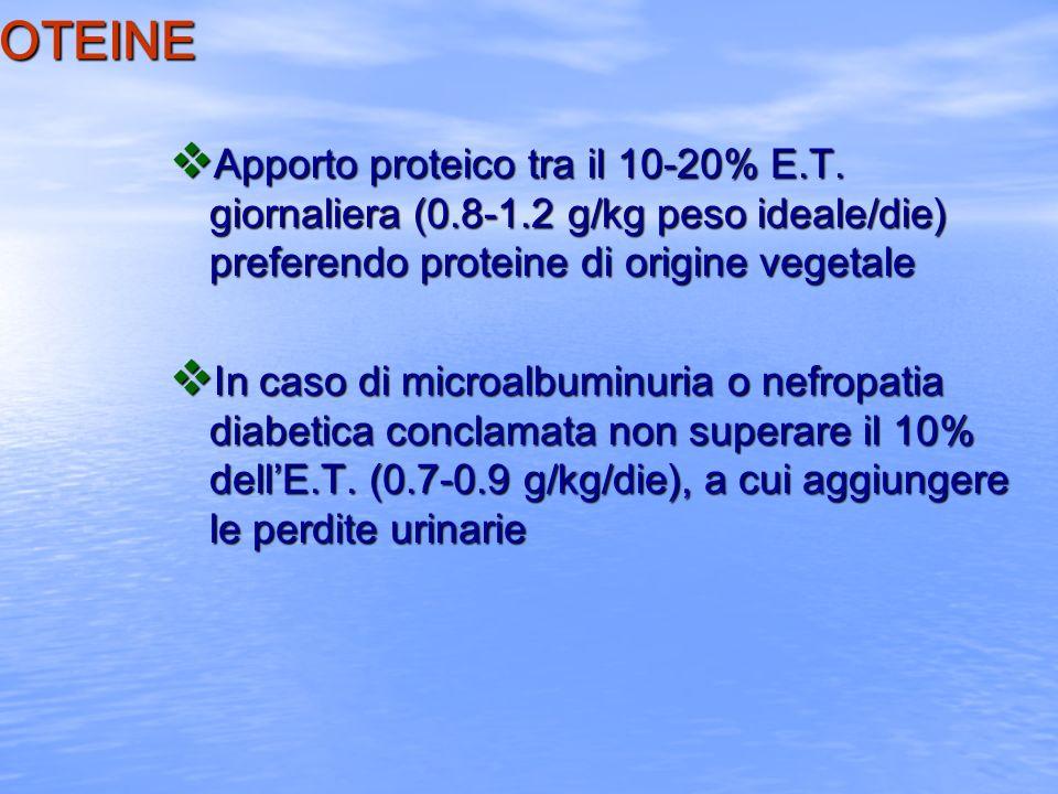 LE PROTEINE Apporto proteico tra il 10-20% E.T. giornaliera (0.8-1.2 g/kg peso ideale/die) preferendo proteine di origine vegetale.
