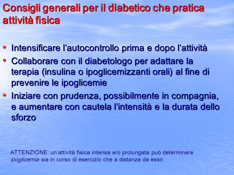 Consigli generali per il diabetico che pratica attività fisica