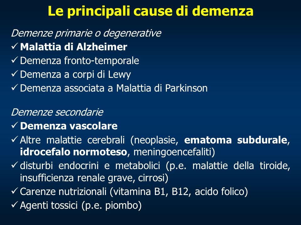 Le principali cause di demenza