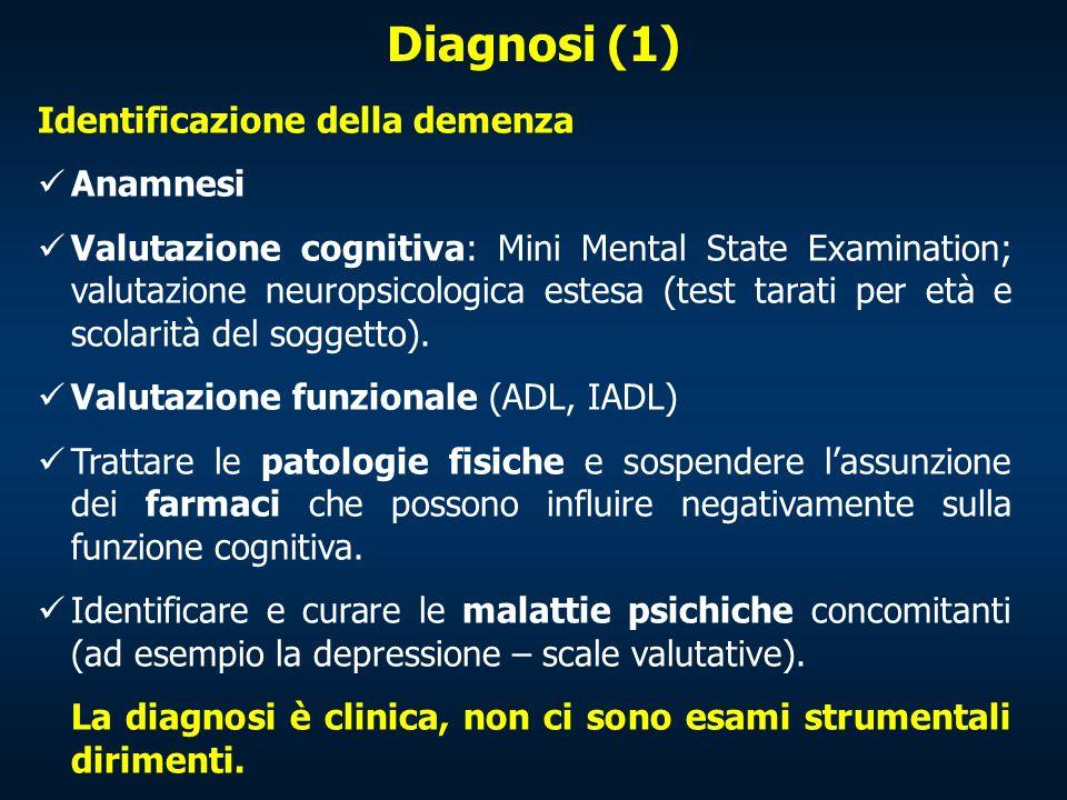 Diagnosi (1) Identificazione della demenza Anamnesi