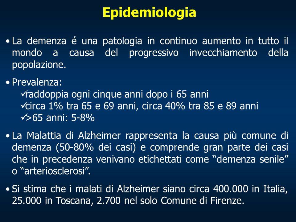 Epidemiologia La demenza é una patologia in continuo aumento in tutto il mondo a causa del progressivo invecchiamento della popolazione.