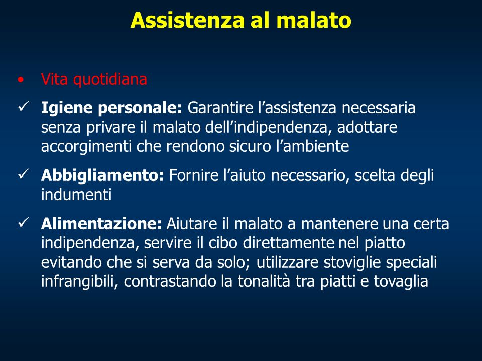 Assistenza al malato Vita quotidiana