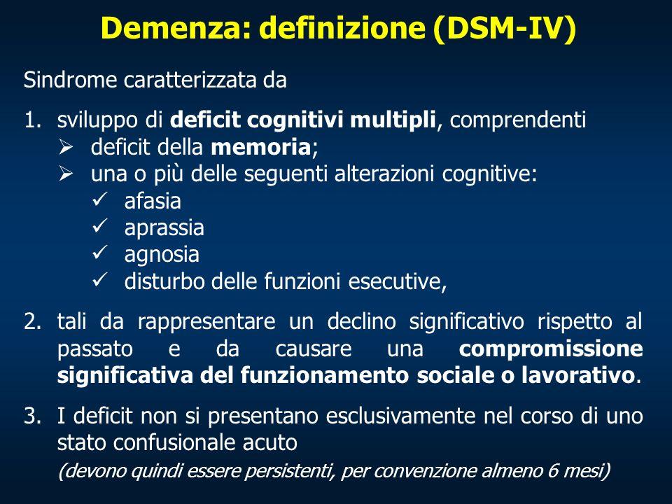 Demenza: definizione (DSM-IV)
