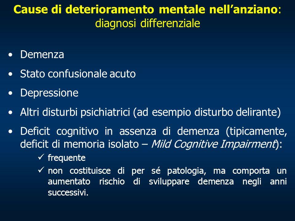 Cause di deterioramento mentale nell'anziano: diagnosi differenziale