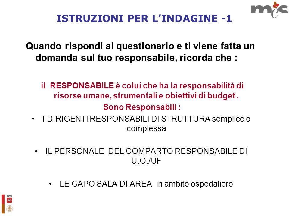 ISTRUZIONI PER L'INDAGINE -1
