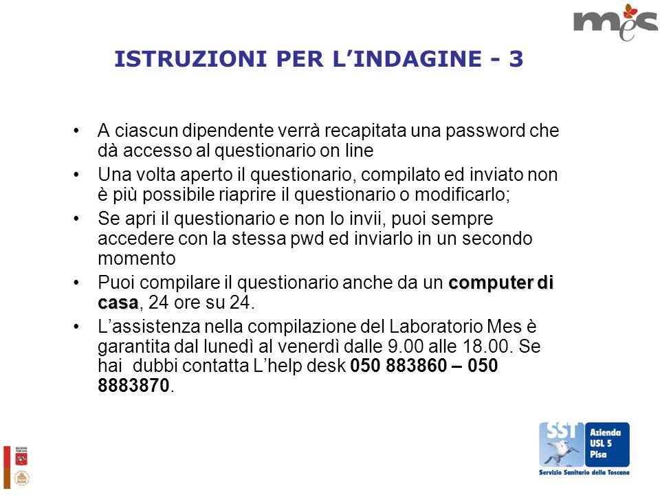 ISTRUZIONI PER L'INDAGINE - 3