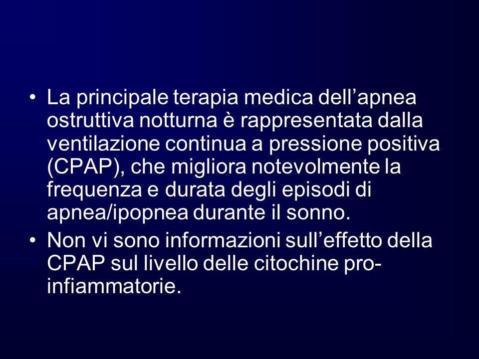 La principale terapia medica dell'apnea ostruttiva notturna è rappresentata dalla ventilazione continua a pressione positiva (CPAP), che migliora notevolmente la frequenza e durata degli episodi di apnea/ipopnea durante il sonno.