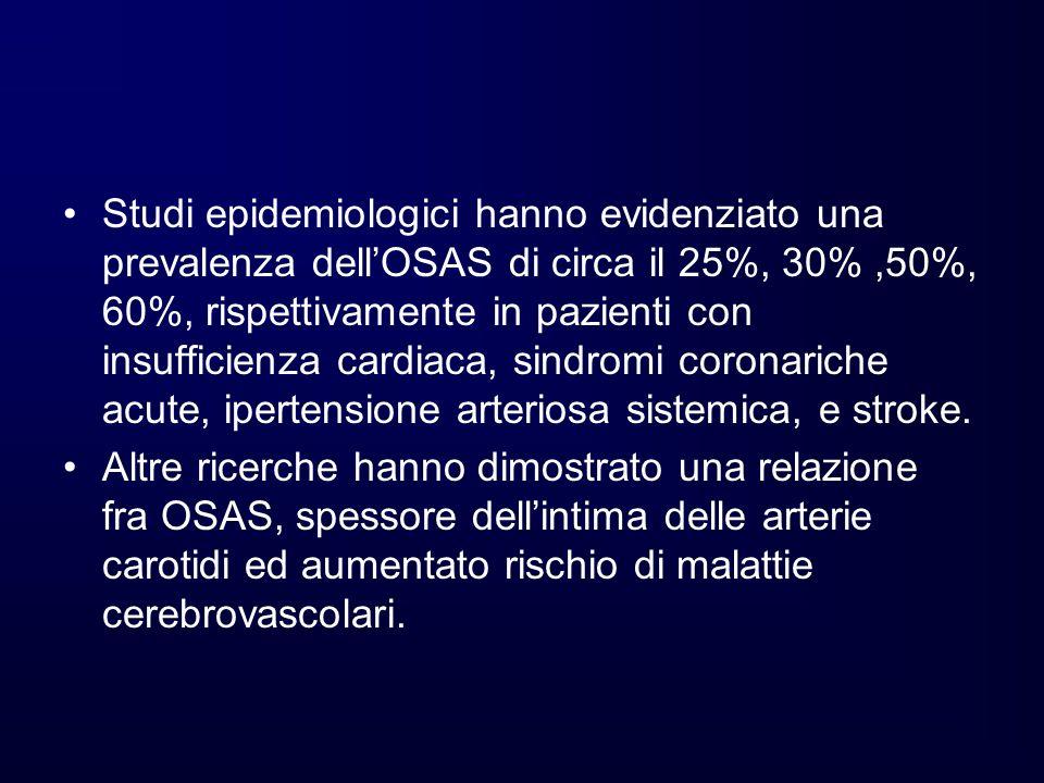 Studi epidemiologici hanno evidenziato una prevalenza dell'OSAS di circa il 25%, 30% ,50%, 60%, rispettivamente in pazienti con insufficienza cardiaca, sindromi coronariche acute, ipertensione arteriosa sistemica, e stroke.