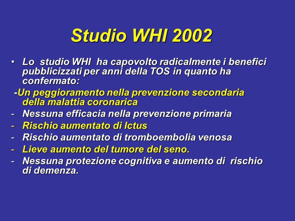 Studio WHI 2002 Lo studio WHI ha capovolto radicalmente i benefici pubblicizzati per anni della TOS in quanto ha confermato: