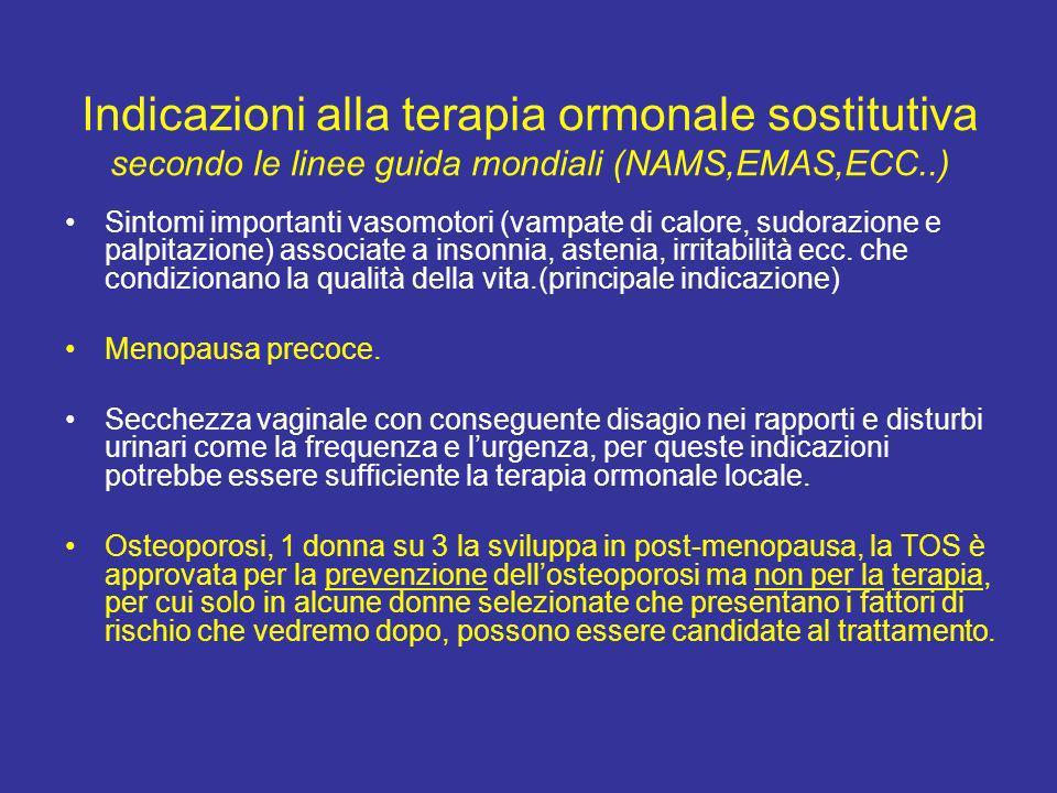 Indicazioni alla terapia ormonale sostitutiva secondo le linee guida mondiali (NAMS,EMAS,ECC..)