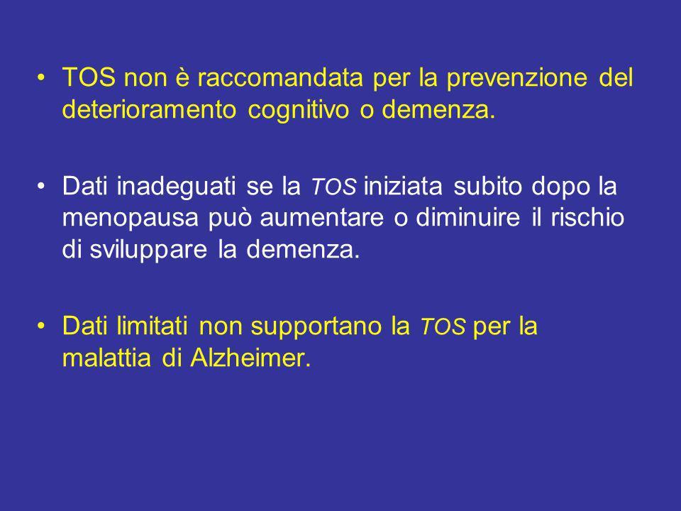 TOS non è raccomandata per la prevenzione del deterioramento cognitivo o demenza.