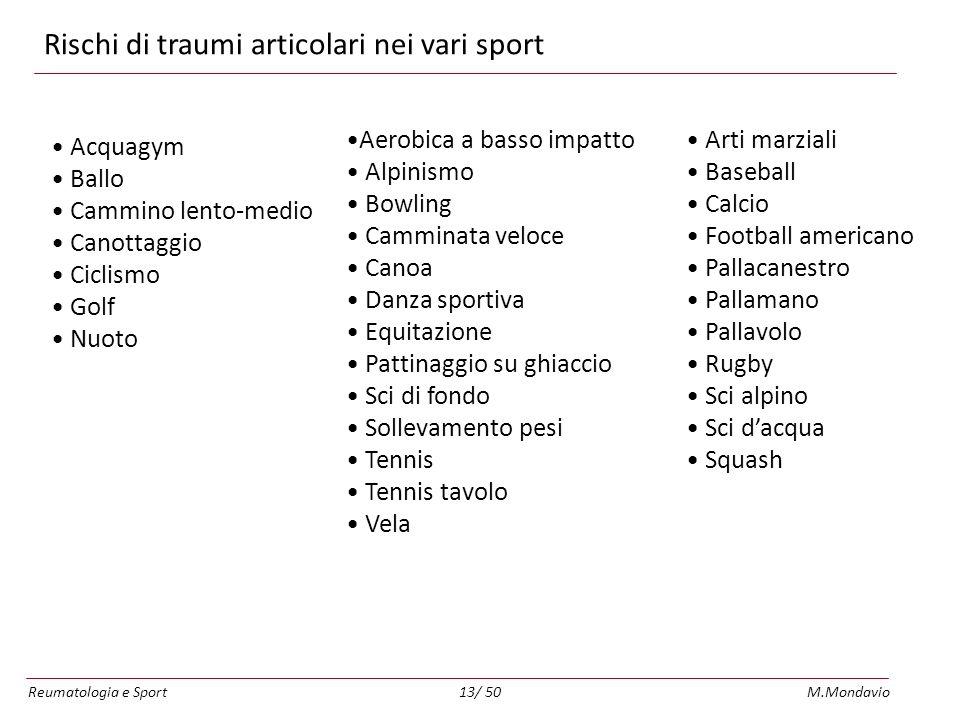 Rischi di traumi articolari nei vari sport