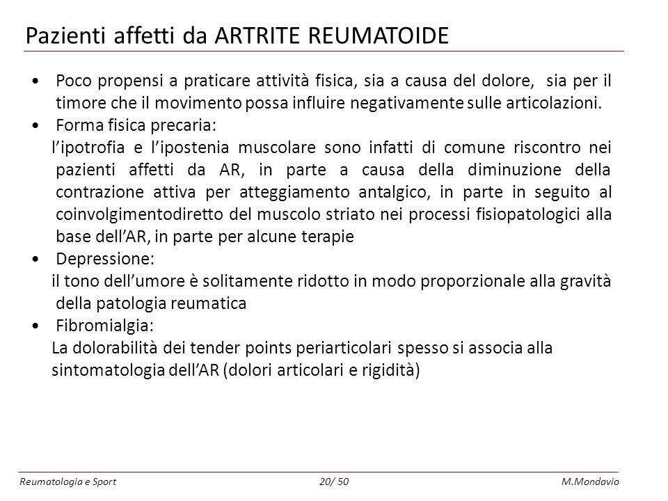 Pazienti affetti da ARTRITE REUMATOIDE