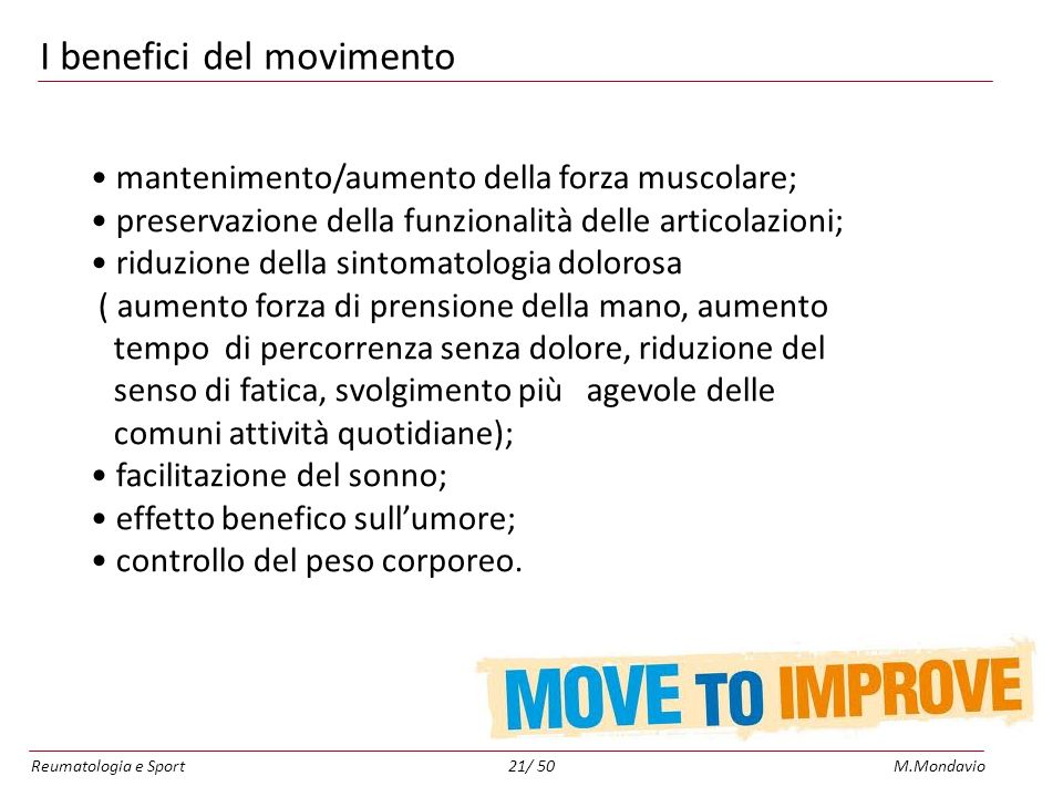 I benefici del movimento