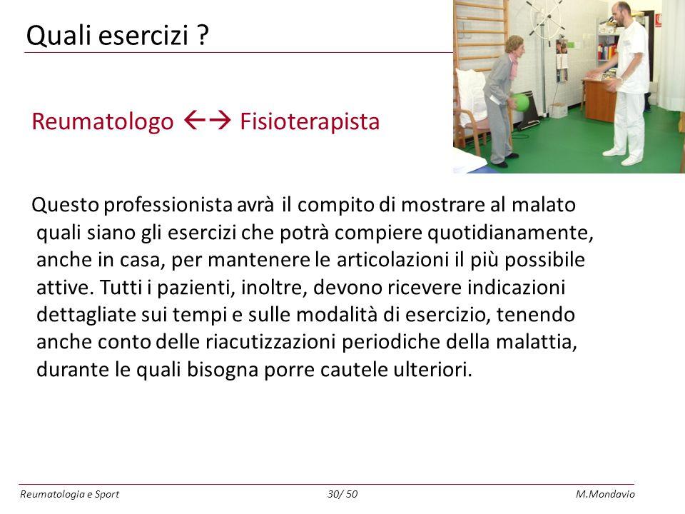 Quali esercizi Reumatologo  Fisioterapista