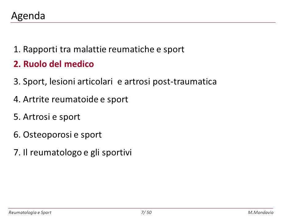 Agenda 1. Rapporti tra malattie reumatiche e sport 2. Ruolo del medico
