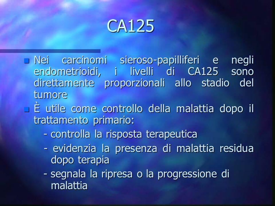 CA125 Nei carcinomi sieroso-papilliferi e negli endometrioidi, i livelli di CA125 sono direttamente proporzionali allo stadio del tumore.
