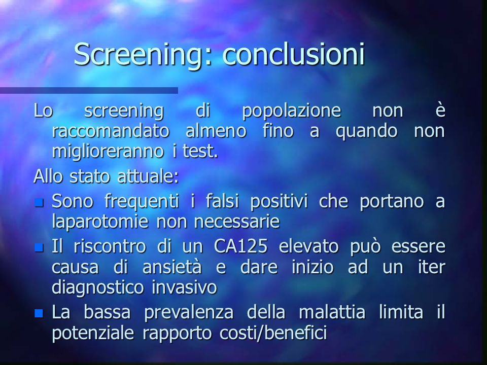 Screening: conclusioni