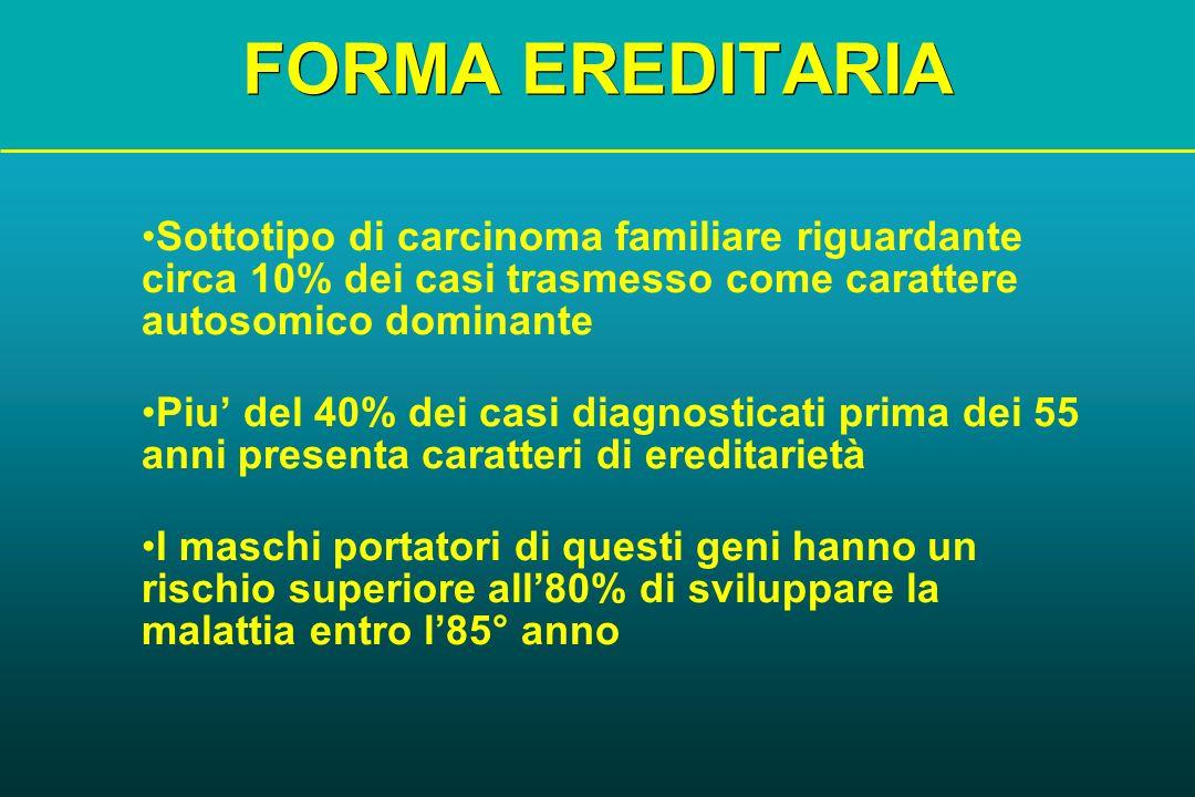 FORMA EREDITARIA Sottotipo di carcinoma familiare riguardante circa 10% dei casi trasmesso come carattere autosomico dominante.