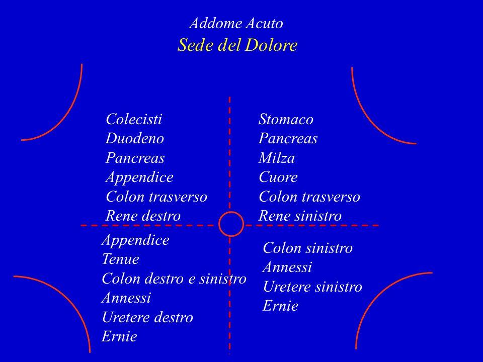 Sede del Dolore Addome Acuto Colecisti Duodeno Pancreas Appendice