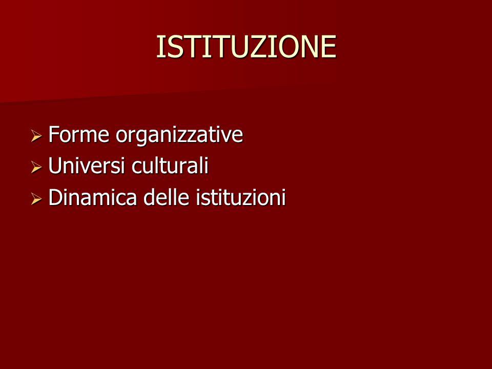 ISTITUZIONE Forme organizzative Universi culturali