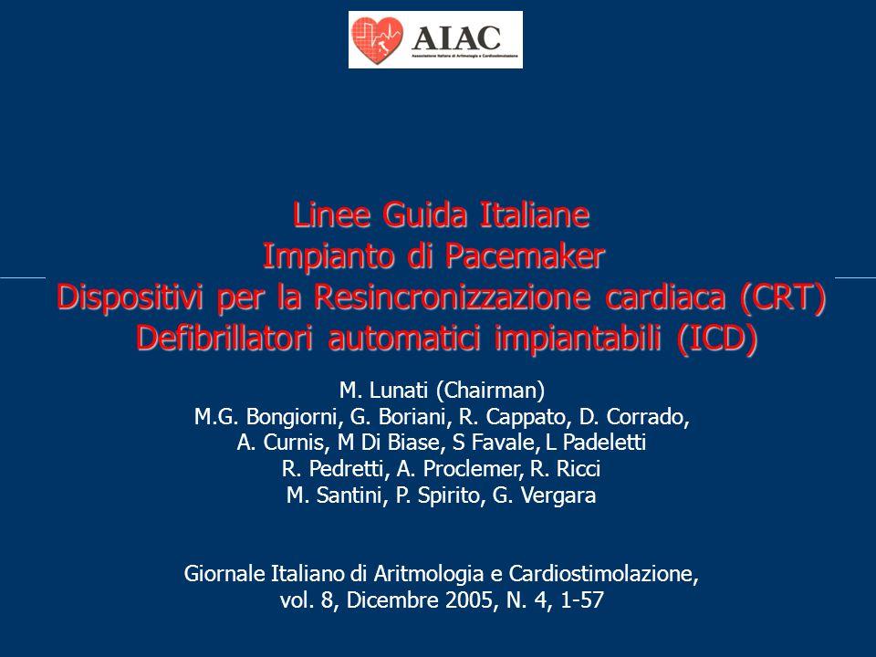 Linee Guida Italiane Impianto di Pacemaker Dispositivi per la Resincronizzazione cardiaca (CRT) Defibrillatori automatici impiantabili (ICD)