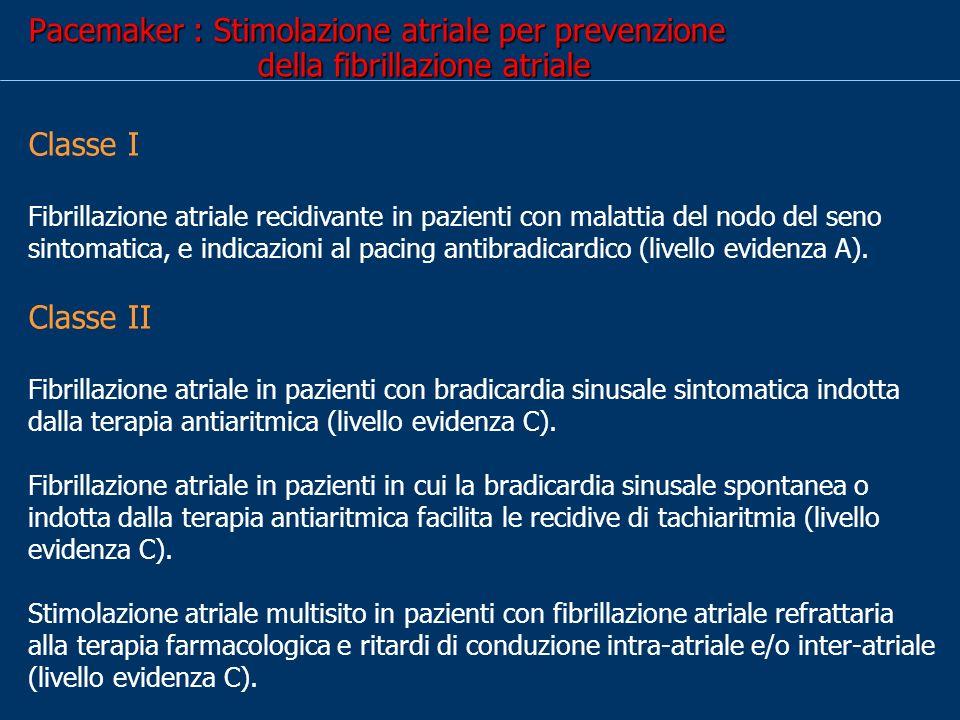 Pacemaker : Stimolazione atriale per prevenzione della fibrillazione atriale
