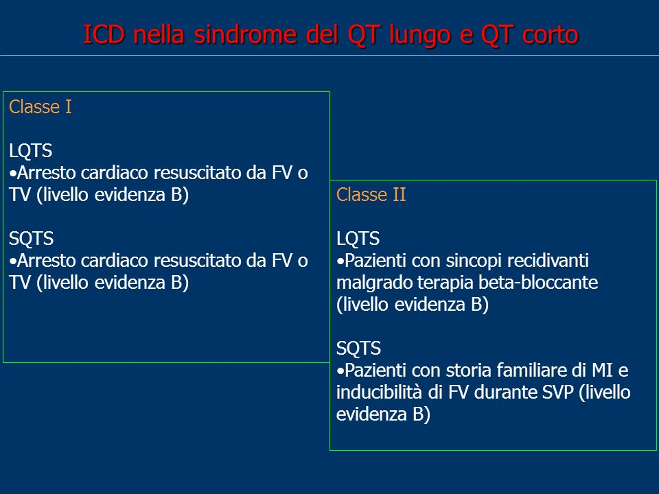 ICD nella sindrome del QT lungo e QT corto