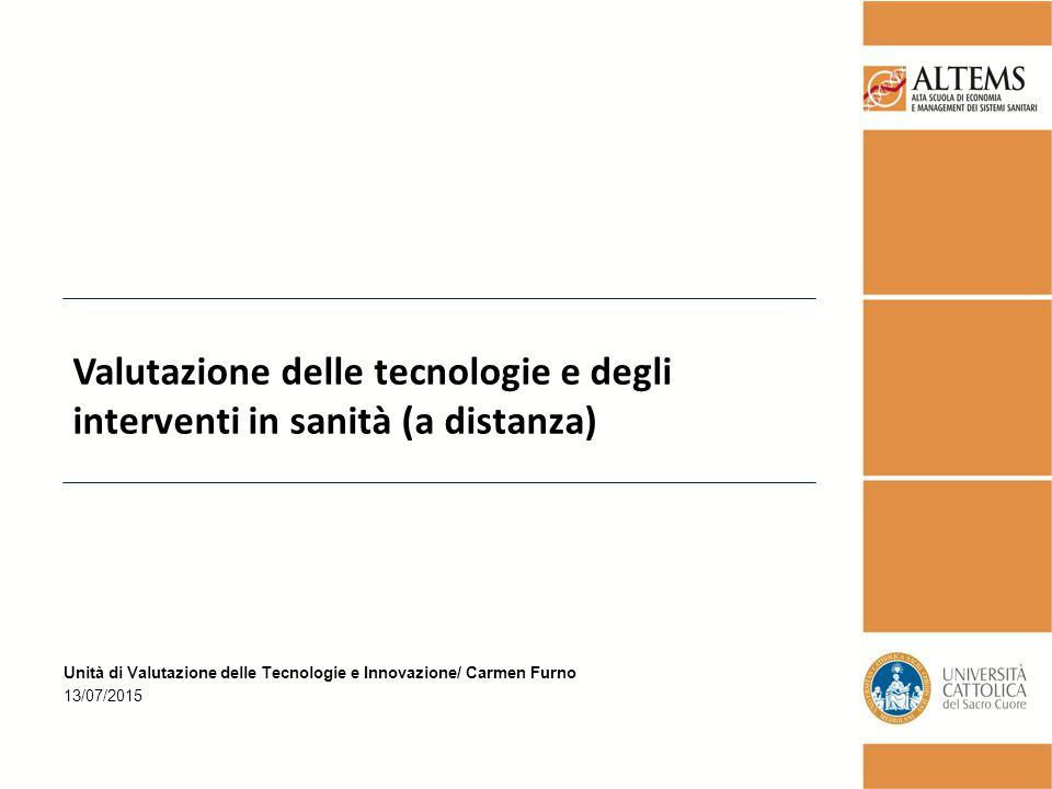 Valutazione delle tecnologie e degli interventi in sanità (a distanza)