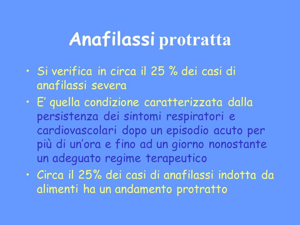 Anafilassi protratta Si verifica in circa il 25 % dei casi di anafilassi severa.