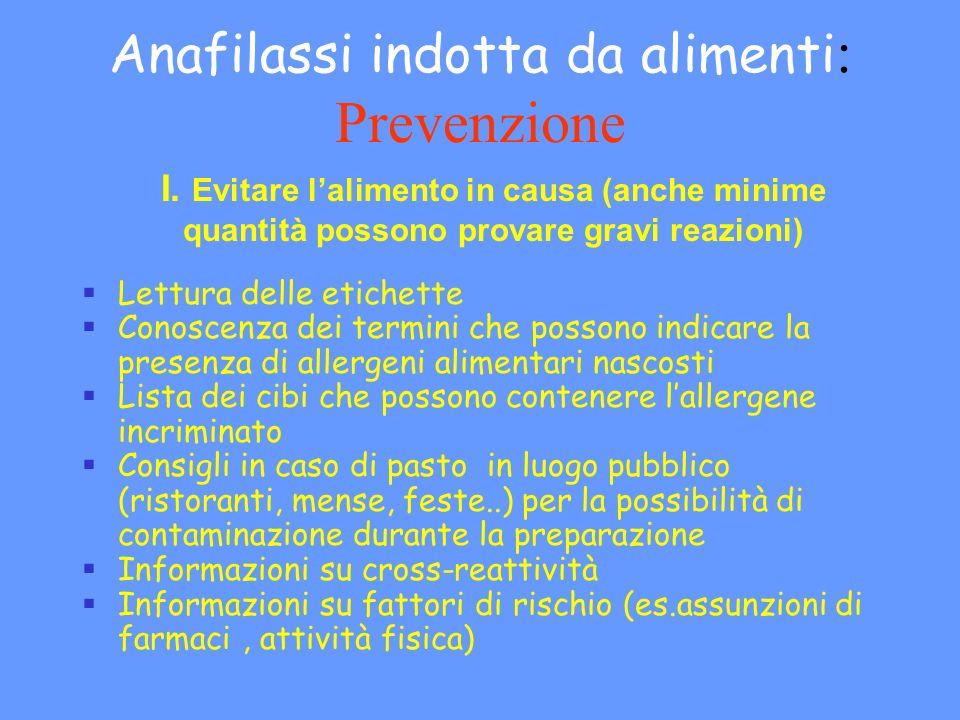 Anafilassi indotta da alimenti: Prevenzione
