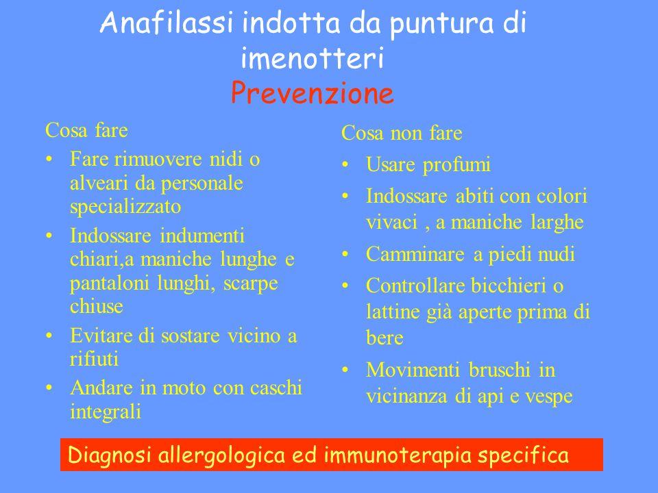 Anafilassi indotta da puntura di imenotteri Prevenzione