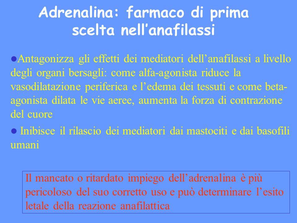 Adrenalina: farmaco di prima scelta nell'anafilassi