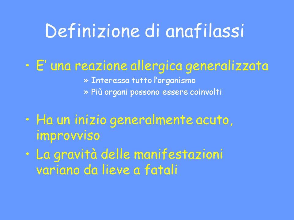 Definizione di anafilassi
